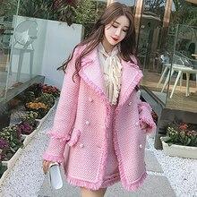 Pink tweed jacket 2020 autumn / winter women's jacket Coat p