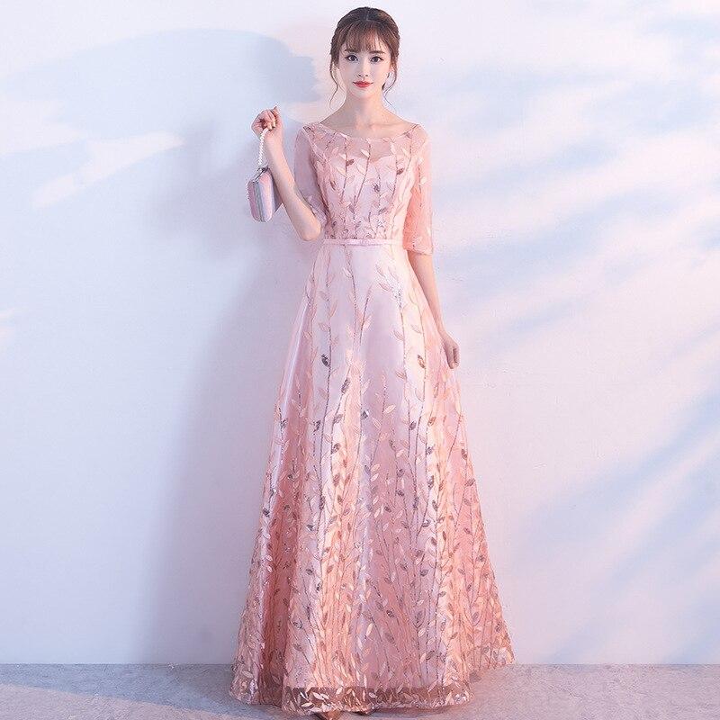 Vintage O-Neck Women Cheongsam Elegant Pink Flower Half Sleeve Qipao Traditional Bride Wedding Dress Vestidos Casual Party Gown