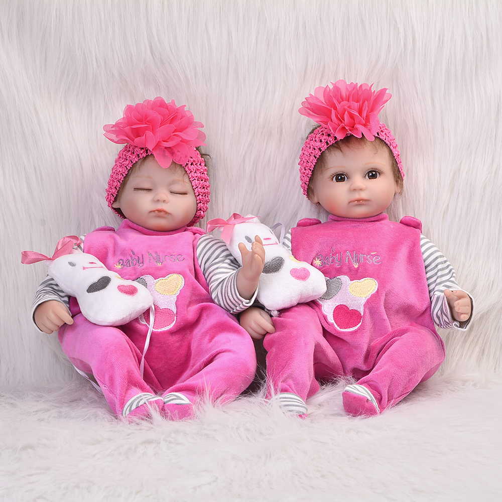 Hot Sale Open or Closed Eyes Silicone Reborn Doll 17 Inch Realistic Girl Twins Baby Toy Newborn Doll For Toddler Children Gift