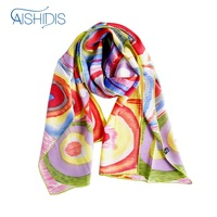 New Brand Long Silk Scarf Women Drawing Art Headscarf Neckerchief Colorful Squares with Concentric Circles Design