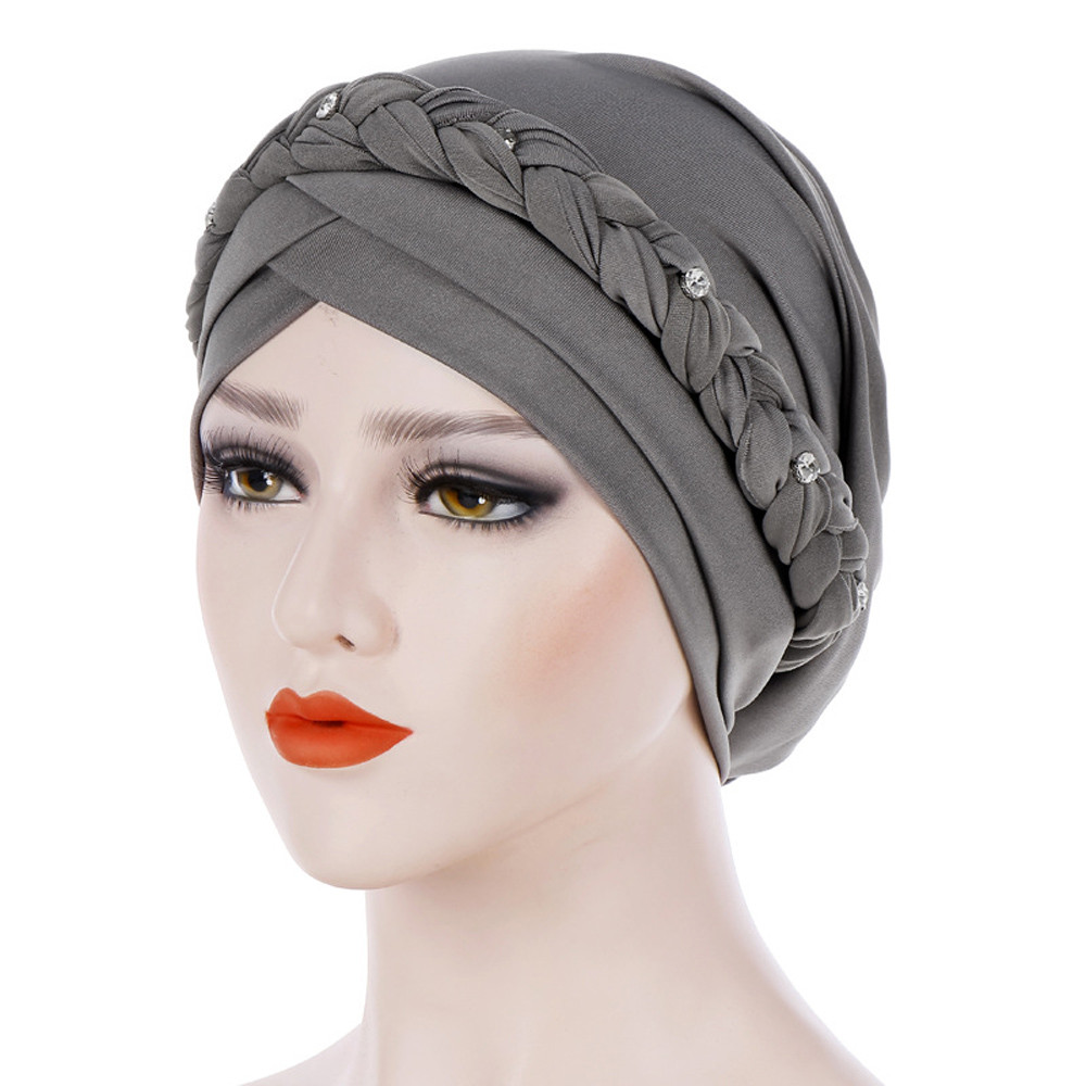 Turban Hijab Muslim Hijab Caps Musulman For Women Muslim Solid Braid Women Hijab Wrap Cap Turbantes Cabeza Para Las Mujeres