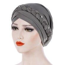 Тюрбан Хиджаб мусульманские шапочки под хиджаб Musulman для женщин мусульманский сплошной коса женщин хиджаб обертывание кепки turbantes cabeza para las mujeres