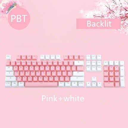 104 مفاتيح/مجموعة مفاتيح PBT مزدوجة النار الميكانيكية لوحة المفاتيح الخلفية مفتاح قبعات الوردي الأزرق الأبيض ل Ajazz AK35I وغيرها MX التبديل