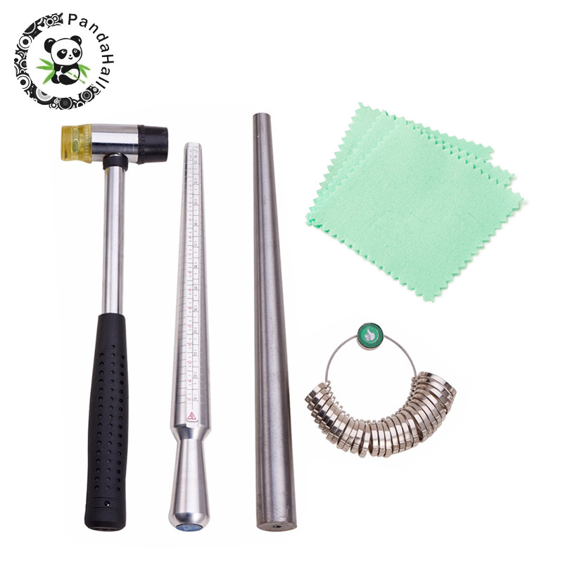 Jewelry Tools Ring Enlarger Stick Mandrel Handle Hammers Ring Sizer Finger Measuring Stick 5pcs Jewelry Polishing Cloth F80
