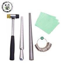 Ferramentas de jóias anel ampliador vara mandrel lidar com martelos anel sizer dedo medição vara jóias polimento pano f80