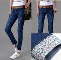 Ultralarge mujeres jeans primavera / otoño más tamaño ropa círculo elástico borde imprimió pantalones pies lápiz pantalones vaqueros pantalones del verano T271