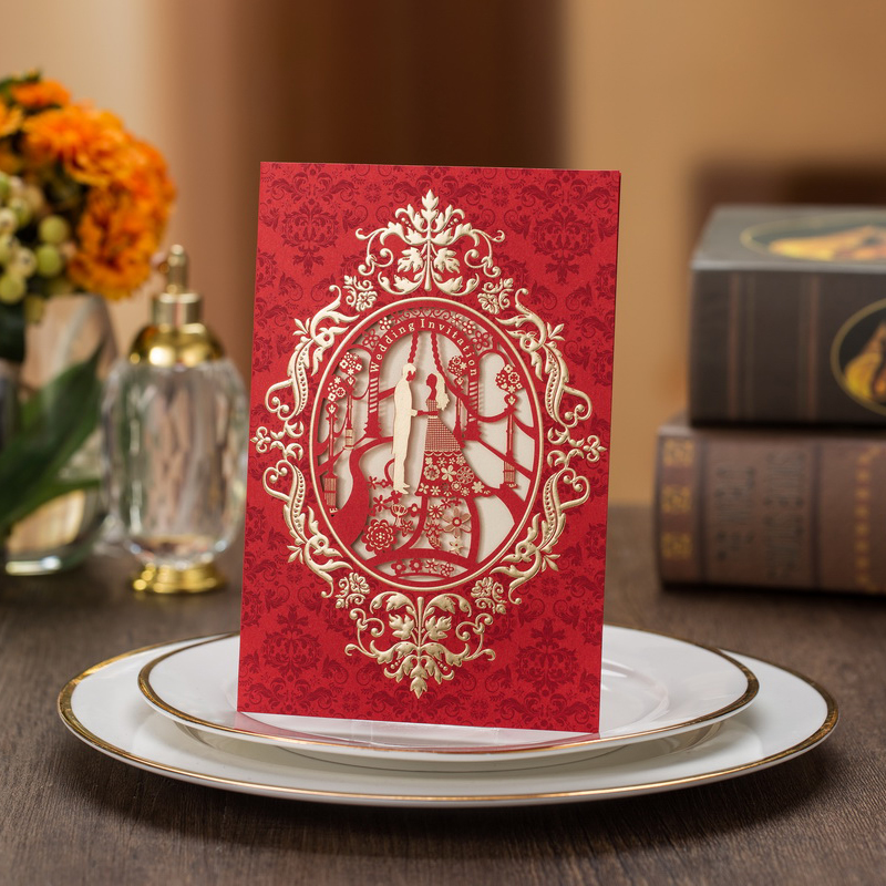 50Pcs Red Laser Cut Bride And Groom Marriage Wedding Invitation Card Customized Printing Invitation Card Party Supplies 1 design laser cut white elegant pattern west cowboy style vintage wedding invitations card kit blank paper printing invitation