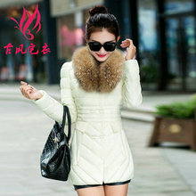 2017 Hot sale Down cotton winter Jacket female medium-long slim detachable large artificial fur collar thickening fashion Coat