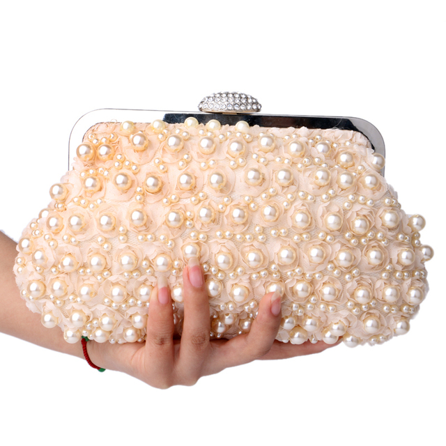 Rose beaded women evening bags clutch pearl lace handbags shell shaped evening bag for wedding bridal purse bags