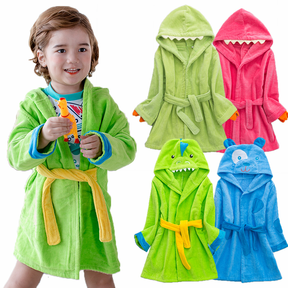 Boys Bathrobes,Hooded Soft Blue Bath Towel Beach Cloak for Baby Boys Girls Toddlers Teen