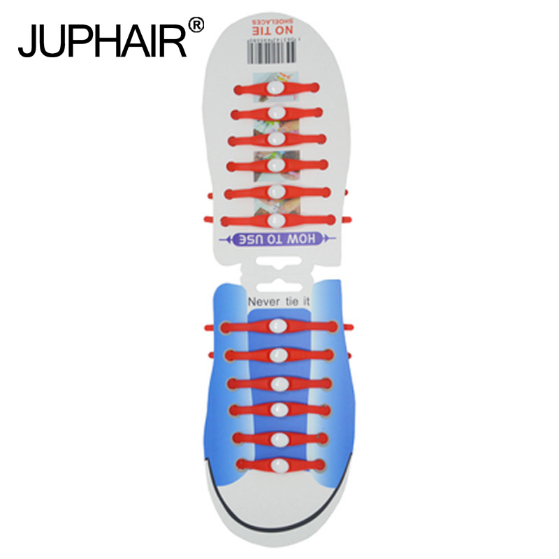 JUP 1-12 Sets(12 Root/Set)Red Fashionable Unisex Mens Boy Elastic Sport Silicone Womens Racing Without Tie Laces Sneaker Strap