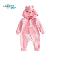 New Year Baby Rompers Autumn Winter Cotton Stripe Hooded Jumpsuit Costume Newborn Infant Boy Girl Clothing