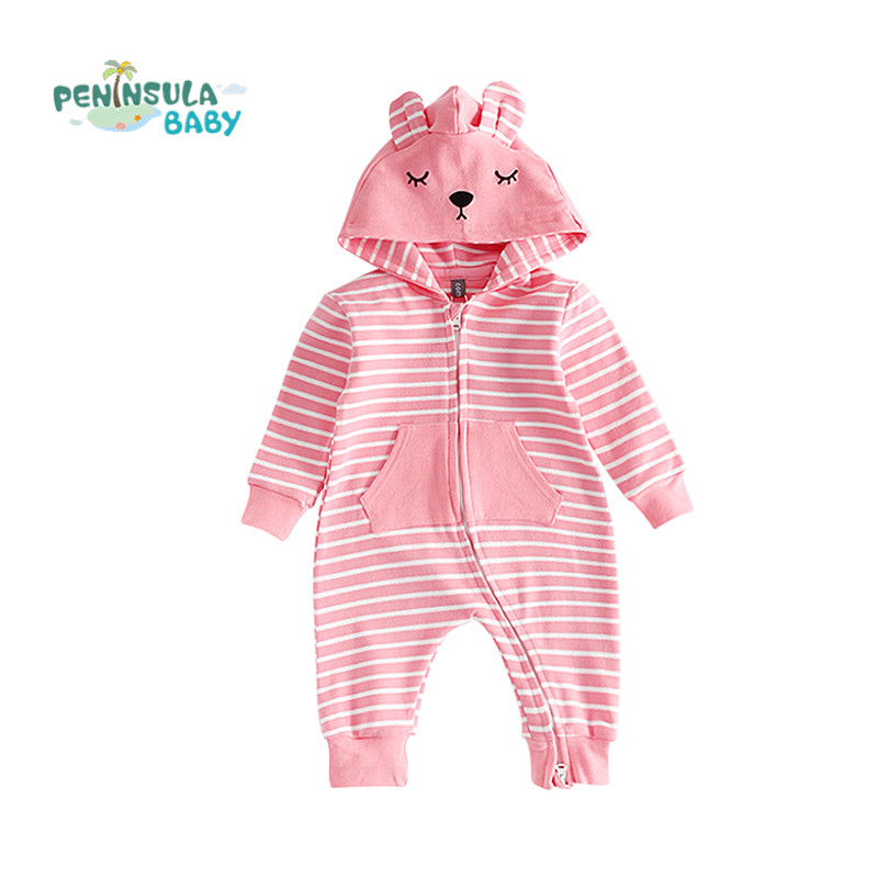 New Year Baby Rompers Autumn Winter Cotton Stripe Hooded Jumpsuit Costume Newborn Infant Boy Girl Clothing Christmas Overalls baby overalls long sleeve rompers clothing cotton dog anima 2017 new autumn winter newborn girl boy jumpsuit hat indoor clothes