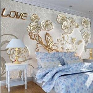 Beibehang-papel tapiz con relieve 3d para dormitorio, papel pintado con foto 3D romántico europeo, vídeo estereoscópico 3d, para pared