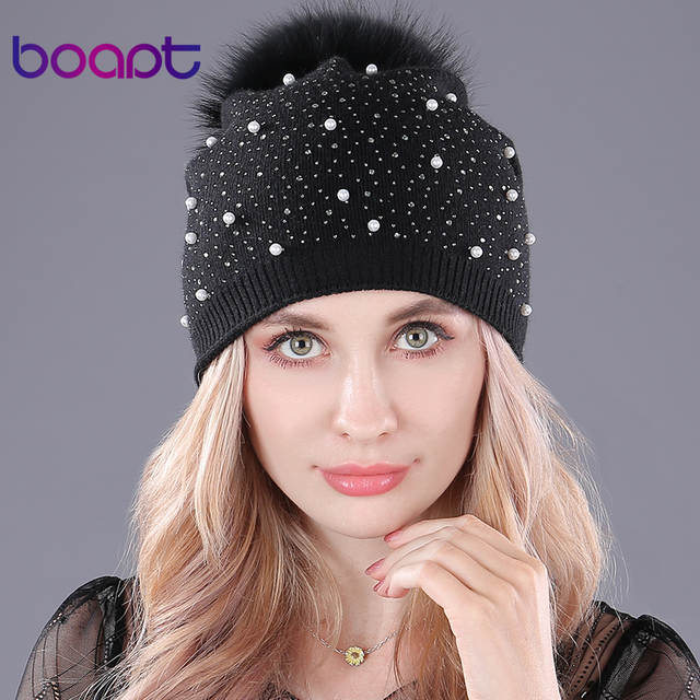 8f26851a [boapt] rhinestones diamond pearl double deck knitted cashmere winter hats  women cap real raccoon fur pompom hat female beanie-in Skullies & Beanies  from ...