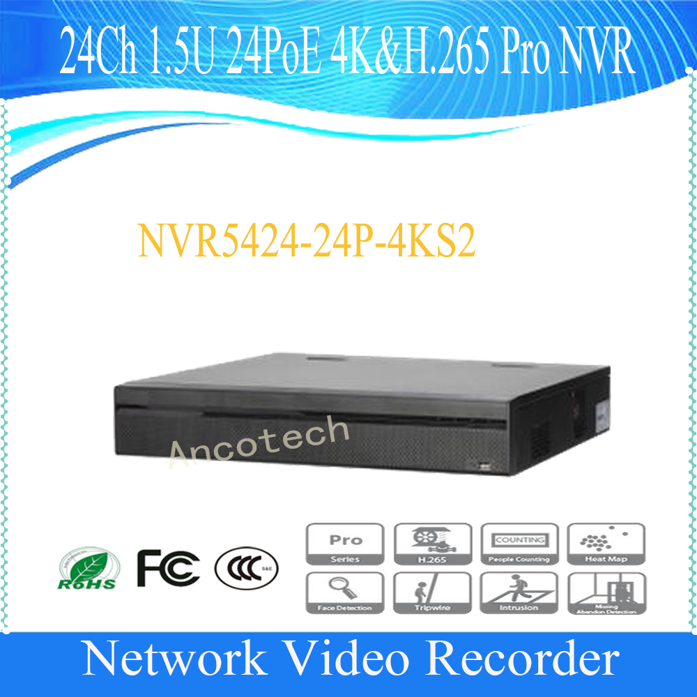 DAHUA Video Recorder 24Channel 1.5U 24PoE 4K&H.265 Pro Network Video Recorder without Logo NVR5424-24P-4KS2
