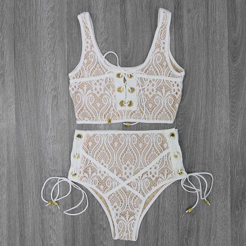 Hitam Putih Pinggang Tinggi Renda Baju Renang Bikini Set 2019 Seksi Padat Bikini Wanita Push Up Baju Renang Banting Cocok Berenang