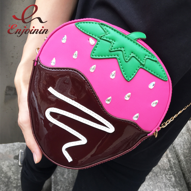 Cute strawberry style diamond pu leather women's casual chain purse shoulder bag ladies crossbody mini messenger bag 4 colors