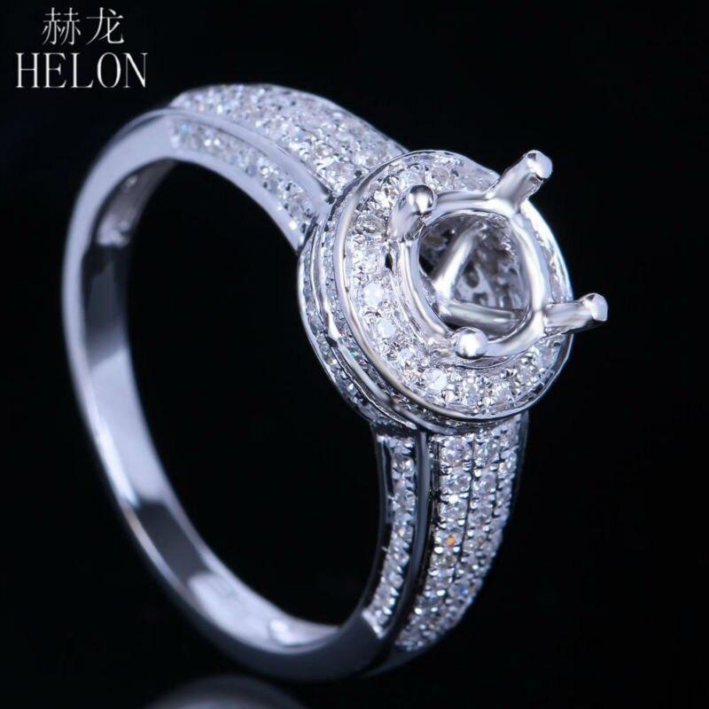 HELON Solid 14K White Gold 6mm Round Cut Pave 0.63ct Diamonds Semi Mount Engagement & Wedding Fashion Ring Women's Jewelry Ring
