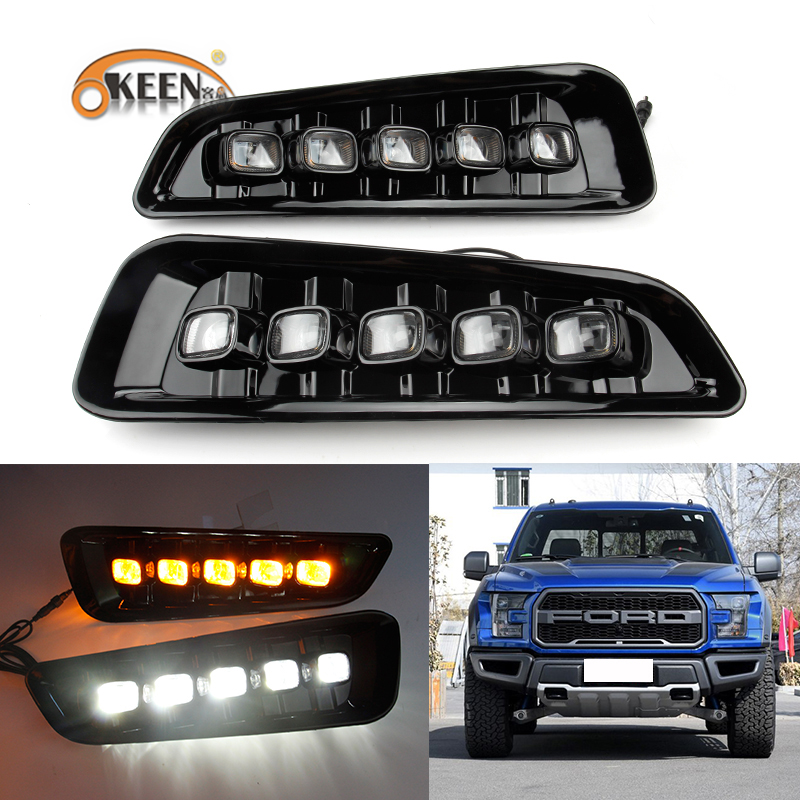 OKEEN High Quality Daytime Running Lights for Ford Ranger Raptor F150 2017 2018 DRL 12V 9-14V Turn Signal Lights Brake Stop Lamp okeen 2pcs high quality led drl for ford raptor f150 2010 2011 2012 2013 2014 daytime running lights with turn signal lamp 12v