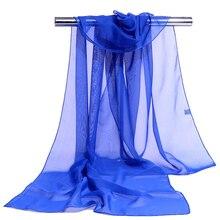 Womens Scarf Long Solid Color Chiffon Shawl Wrap Scarves Beach Soft Sun Protection Dark Blue