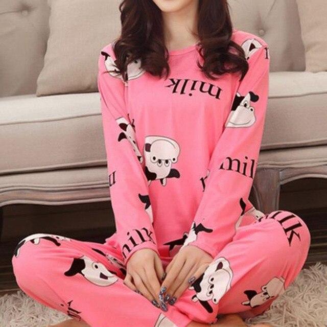 Весна Осень 2016 Женщин Пижамы Животных Печати Домашняя Одежда Домой Костюм Пижамы Случайные Свободные Пижамы Ночной Рубашке для Женщин