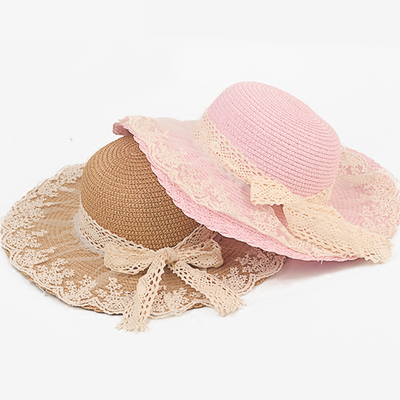 026973382c93 Lace Summer Sun Hats For Women New Fashion Sombreros Wide Brim Beach Side  Cap Floppy Female Straw Hat for Girls Kids