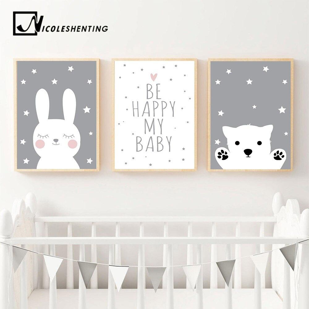 HTB1TH5ewGQoBKNjSZJnq6yw9VXaH Baby Nursery Wall Art Canvas Poster Print Cartoon Rabbit Bear Painting Nordic Kids Decoration Picture Children Bedroom Decor