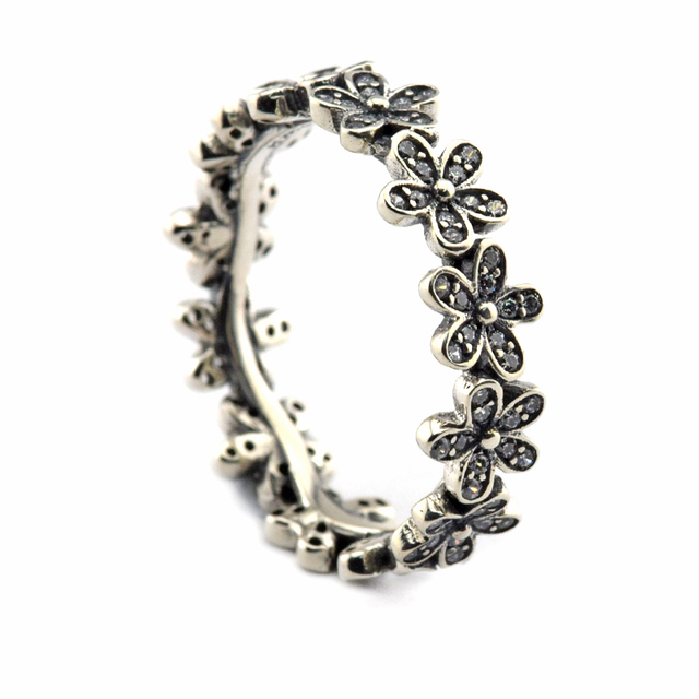 Silver Daisy Rings With Clear Cubic Zirconia 100% 925 Sterling Silver Fashion Jewelry Free Shipping