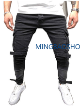 2019 New mens Skinny jeans in autumn and winter black Large Pockets Leisure pants leggings. men clothes