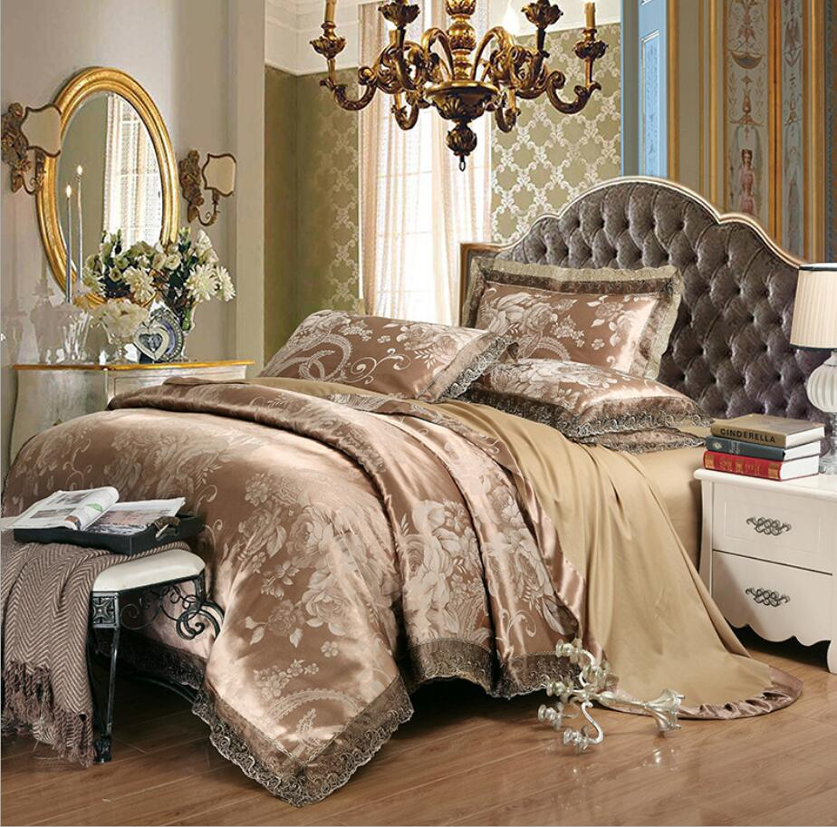 Green Jacquard Bedding Sets Luxury Embroidery Satin Duvet Cover Bedsheet Linen Silk Cotton Queen King Size 4 6pcs Bed Cover Buy At The Price Of 73 16 In Aliexpress Com Imall Com