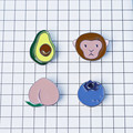 Frete grátis hot New Moda mulher broches Animais motivos esmalte resto antigas formas de Pêssego macaco abacate blueberry menina broche