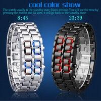 방수 전자 세대 이진 시계 남성 손목 시계 용암 시계 시간 레드 빛 레이디 블루