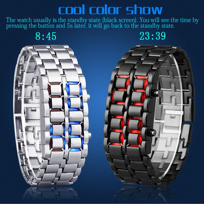 Prix pour Étanche Électronique Deuxième Génération Binaire LED Montres Hommes Montre-Bracelet Lave Horloge Heures Rouge-lumière dame Bleu Lumière