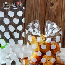 JOY-ENLIFE 20Pcs White Polka Dots Clear Plastic Bag Baby Shower Child Birthday Party Wedding Candy Cookies Supplies Package Bag