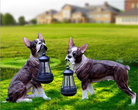 LED lamp Resin Dog Sculpture with Solar Powered Garden Lantern For Outdoor Decoration