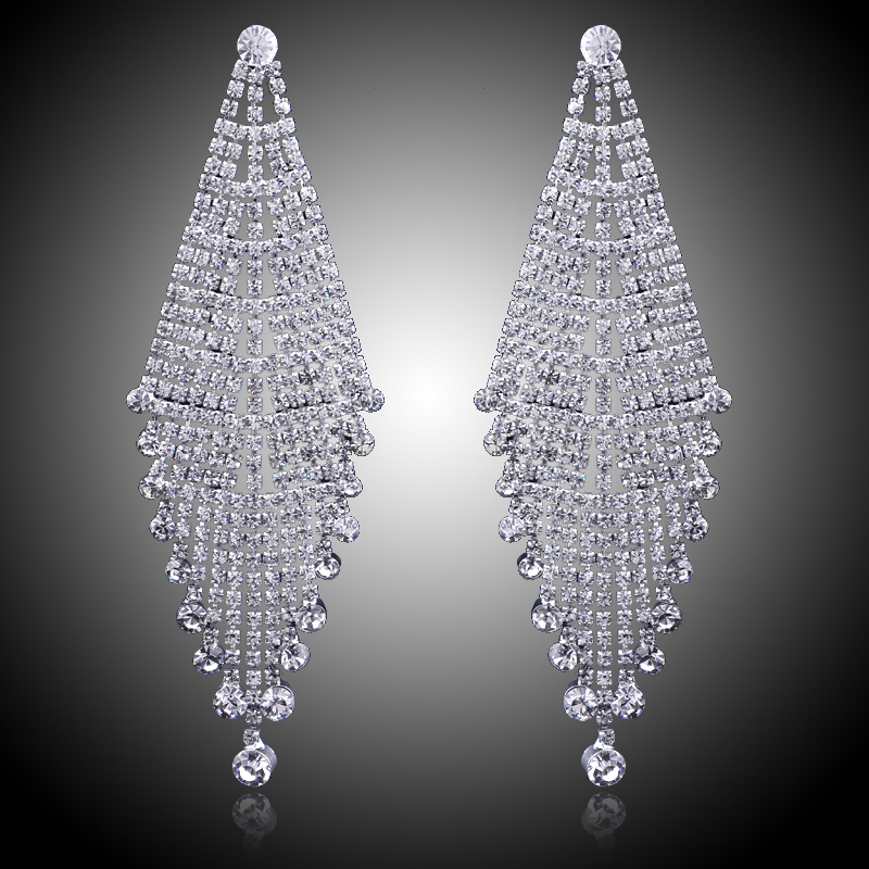 Luxury Bridal Silver Color Clear Rhinestone Earrings Wedding Party ...