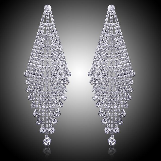 Luxury Bridal Silver Color Clear Rhinestone Earrings Wedding Party Long Dangle Chandelier Jewelry