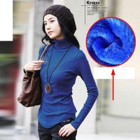 Natural Cotton Women Pullovers Turtleneck Knit Shirt Long Sleeve Solid Sweater Basic Top Fall Winter Velvet Elastic Sweater