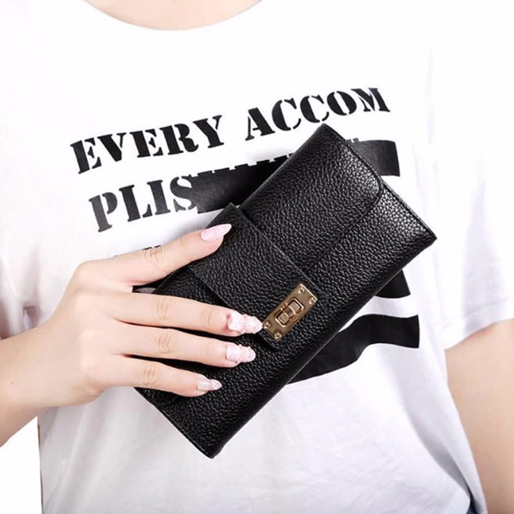 2018 Hot New Fashion Women Lady Bifold Wallet Clutch Phone Card Holders Purse Long Handbag Solid Hasp Leather Bags Multifuntion yuanyu 2018 new hot free shipping real python leather women clutch women hand caught bag women bag long snake women day clutches