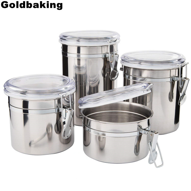 US $19.31 16% OFF|Goldbaking 4 Pieces Kitchen Canisters Stainless Steel  Beautiful Food Container Set for Kitchen Counter with Airtight Lids-in  Lunch ...