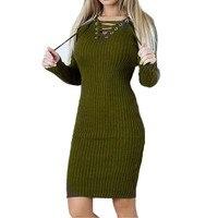 Ladies Knitting Sweater Dresses For Women Long Sleeve Winter Bodycon Dress Female 2017 Tunic Slim Vintage