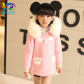 Children's clothing female child wool winter wool coat child double breasted outerwear child thickening trench