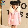 Vestuário infantil criança do sexo feminino de lã casaco de lã de inverno criança double breasted outerwear espessamento criança trincheira