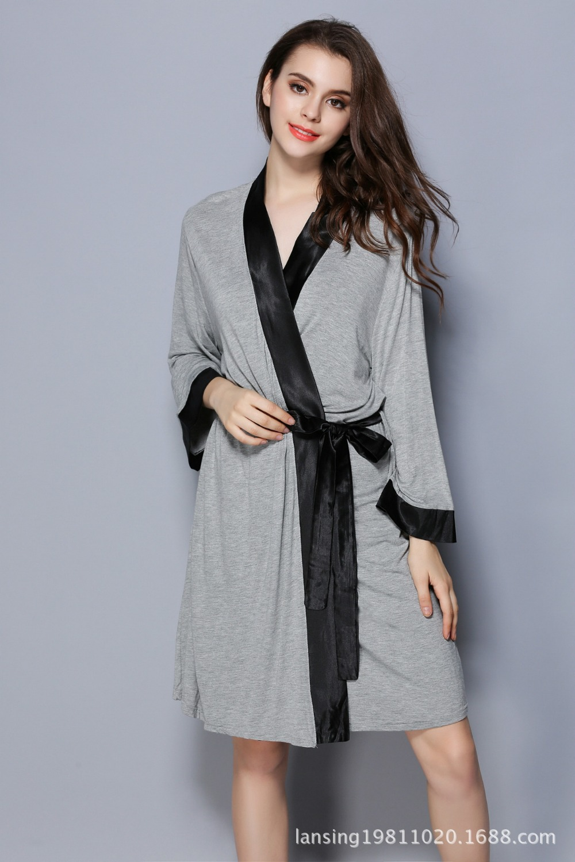 Womens Spring modal hotel and home bath robe ladies half sleeve contrast opening kimono and nightwear