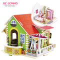 3D Handmade DIY Wooden House Model Jigsaw Puzzle Toy Set Children Educational Cartoon Building Jigsaw Toys for Kids