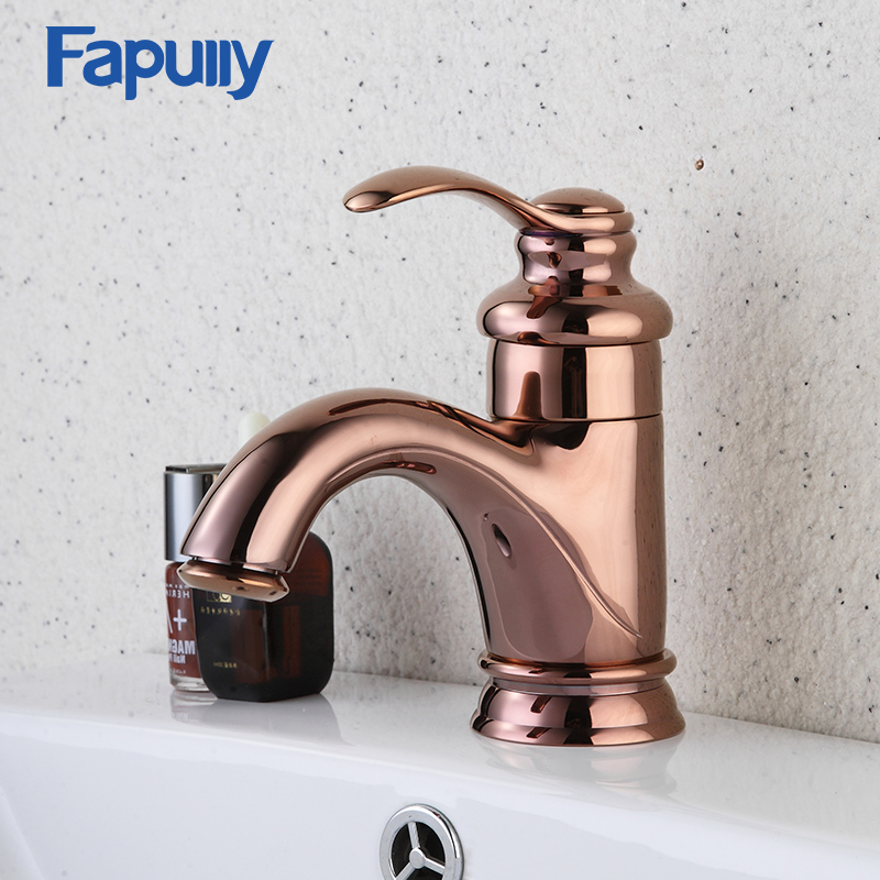 Fapully Basin Bathroom Sink Faucets Rose Gold Single Handle Single Hole Hot And Cold Gold Faucet Mixer Tap 55mm aperture high quality deep groove ball bearing 6311 55x120x29 ball bearing double shielded with metal shields z zz 2z