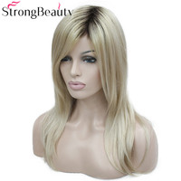 StrongBeauty Women's Synthetic Wig Long Straight Dark Roots Honey Blonde Hair Ombre Natural Wigs