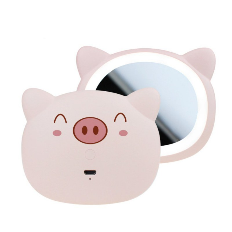 Rechargeable Mini Portable Handheld Cosmetic Mirror Night Light Cute Pig Make-Up Mirror Women Portable USB Charge Mirror Lamp