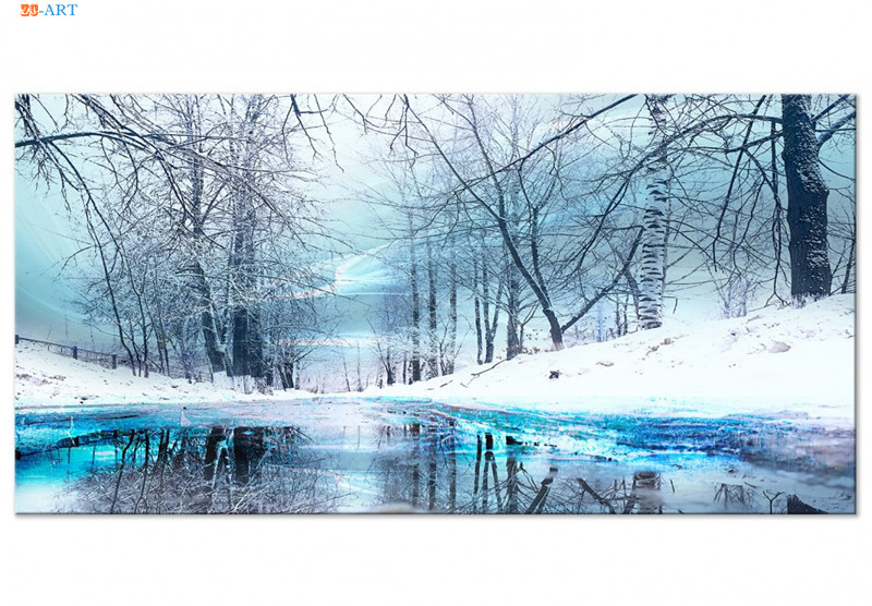 BLUE SKY WINTER TREES ON CANVAS PICTURES WALL ART PRINTS HOME DECORATION POSTERS